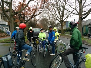 Ted Virdone, surrounded by Central Greenways volunteers, discussing a future greenway route in the central neighborhood.
